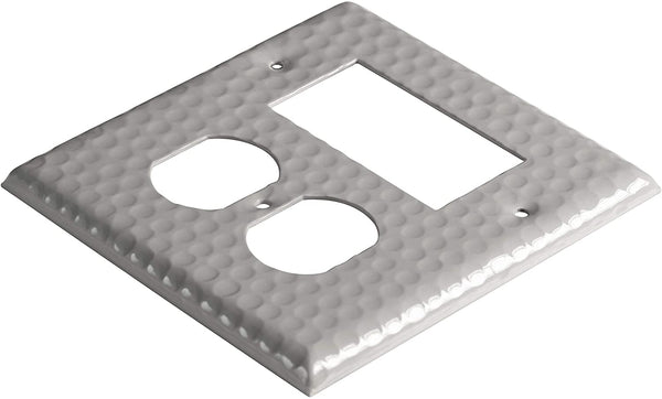 Monarch Abode Hand Hammered Dove Gray Rocker Duplex Wall Plate / Switch Plate Hardware > Wall Plates > Metal Monarch Abode