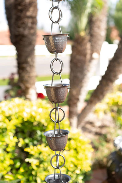 Monarch Rain Chains Aluminum Pewter Hammered Cup Rain Chain 8.5 ft. Rain Chains > Aluminum Monarch Abode