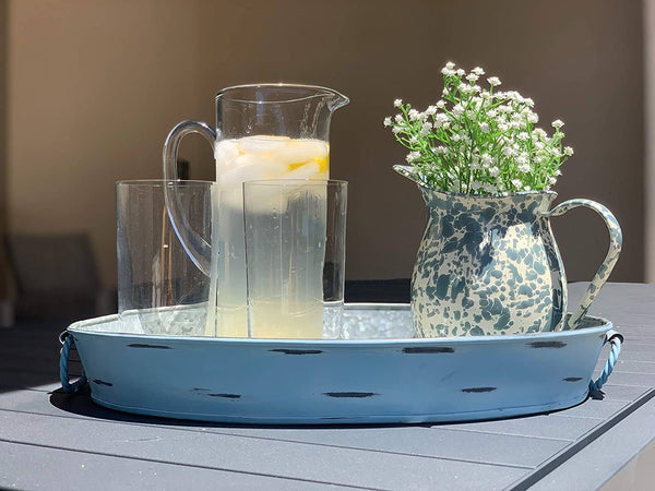 Monarch Abode Handcrafted Galvanized Steel Decorative Serving Tray, Blue Stonewashed Kitchen & Dining Monarch Abode