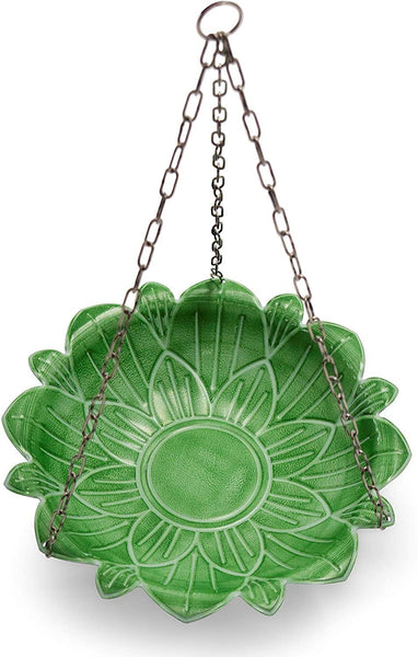 Monarch Abode Seafoam Green Handcrafted Lotus Hanging Bird Bath