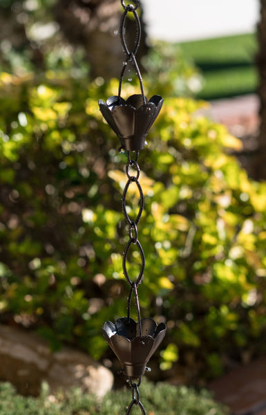 Monarch Rain Chains Aluminum Black Sakura Rain Chain 8.5 ft.