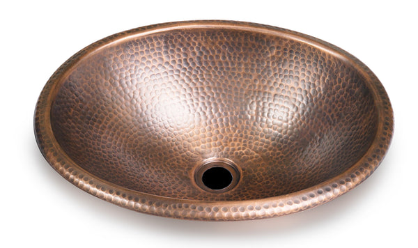 "Monarch Pure Copper Hand Hammered Oval Sink, 17"" (Drop in Or Vessel)"