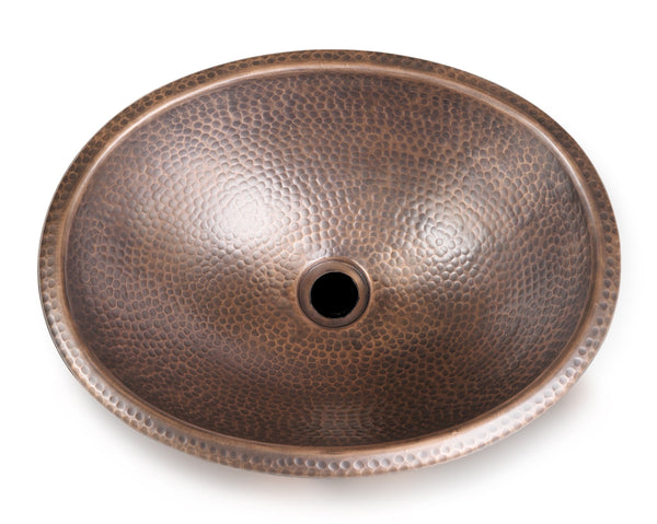 Monarch Abode™ Pure Copper Hand Hammered Oval Drop In Bathroom Sink (17 inches)