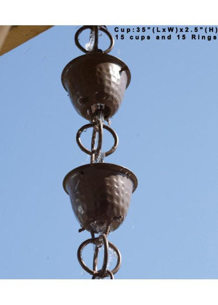 Monarch Rain Chains Aluminum Hammered Cup Beaver Brown Rain Chain 8.5 ft.