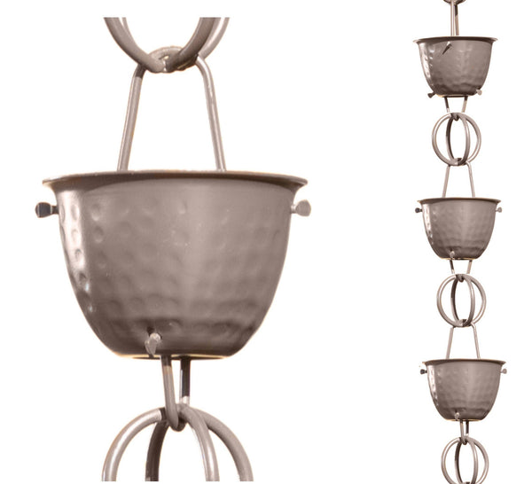 Monarch Rain Chains Aluminum Hammered Cup Musket Brown Rain Chain 8.5 ft.