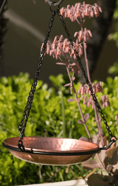 Monarch Abode™ Pure Copper Hand Hammered Hanging Bird Bath Garden Decor > Bird Baths > Copper Monarch Abode