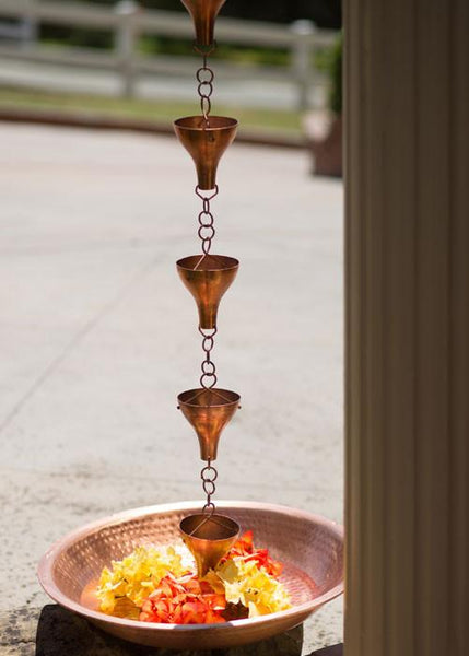 Monarch Rain Chains Pure Copper Hammered Basin 21""