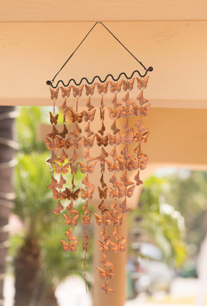 Monarch Pure Copper Cascading Butterflies Wind Chime