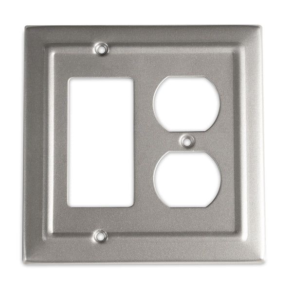 Monarch Abode Architectural Pewter Rocker Duplex Wall Plate / Switch Plate Hardware > Wall Plates > Metal Monarch Abode