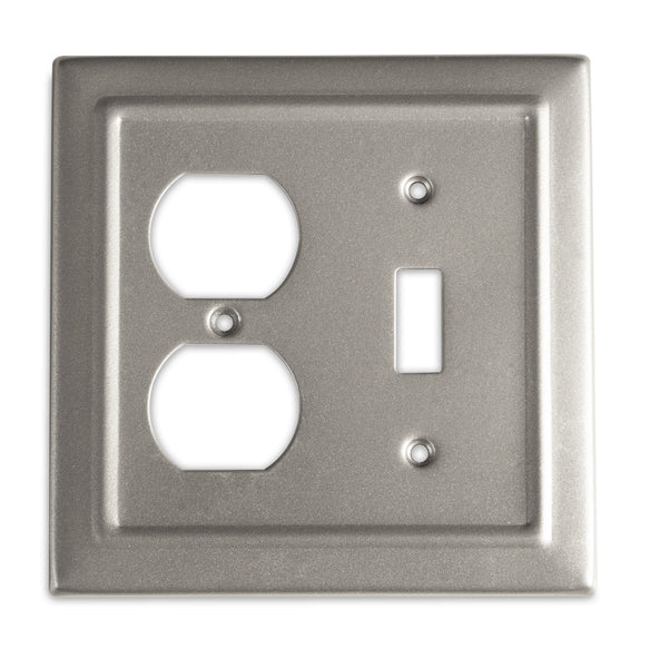 Monarch Abode Architectural Pewter Single Switch Duplex Wall Plate / Switch Plate Hardware > Wall Plates > Metal Monarch Abode