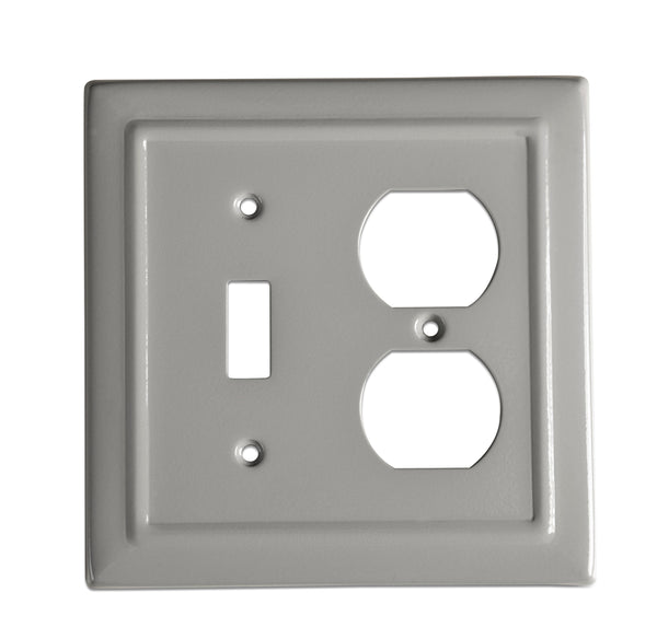 Monarch Abode Architectural Dove Gray Single Switch Duplex Wall Plate / Switch Plate Hardware > Wall Plates > Metal Monarch Abode