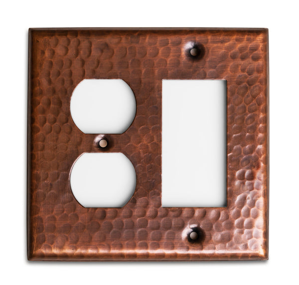 Monarch Pure Copper Hammered Rocker Duplex Wall Plate / Switch Plate
