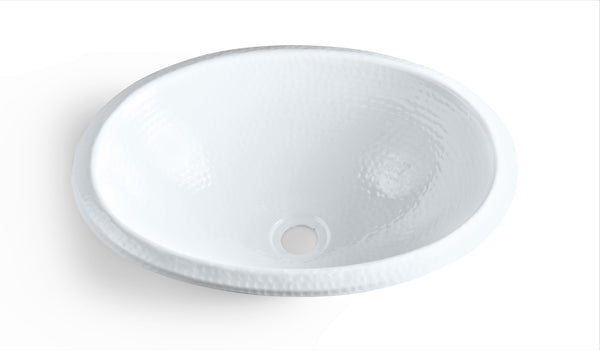 Monarch Abode Hand Hammered Classic White Oval Dual Mount Sink Sinks > Bathroom > Metal Monarch Abode