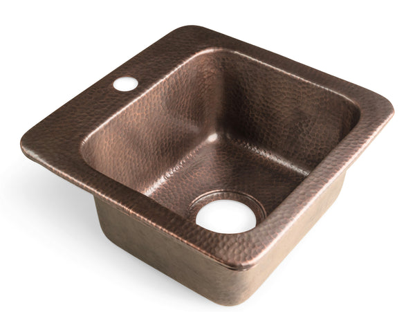 Monarch Abode Pure Copper Hand Hammered Baxter Bar Prep Sink (15 inches)