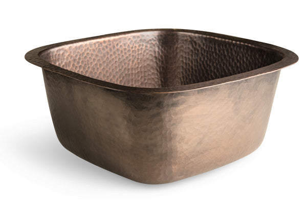 Monarch Abode Pure Copper Hand Hammered Atlas Dual Mount Bar Prep Sink (15 inches)