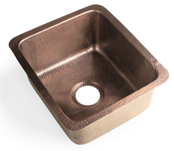 Monarch Abode Pure Copper Hand Hammered Highball Bar Prep / Kitchen Sink (17 inches)