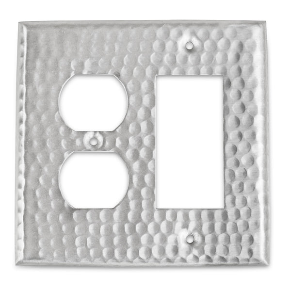 Monarch Nickel Hammered Rocker / Duplex Wall Plate / Switch Plate Hardware > Wall Plates > Nickel Monarch Abode