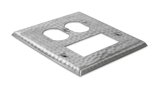 Monarch Nickel Hammered Rocker / Duplex Wall Plate / Switch Plate