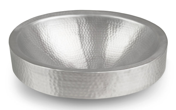 Monarch Hand Hammered Nickel Skirted Bathroom Vessel Sink, 17 inches