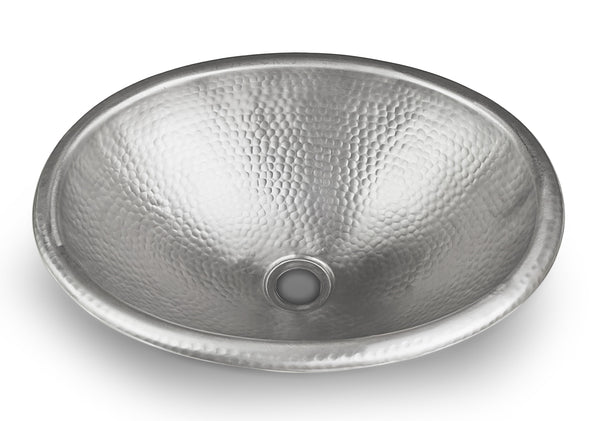 "Monarch Hand Hammered Nickel Oval Sink, 17"" (Drop in Or Vessel)"