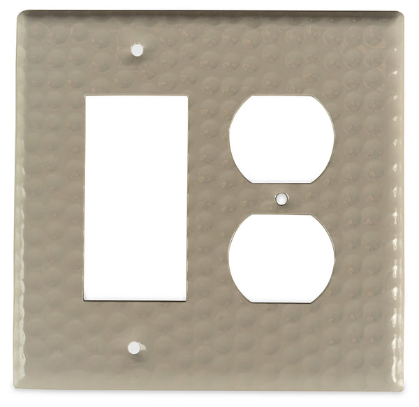 Monarch Abode Hand Hammered Desert Clay Rocker Duplex Wall Plate / Switch Plate Hardware > Wall Plates > Metal Monarch Abode
