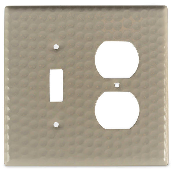 Monarch Abode Hand Hammered Desert Clay Single Switch Duplex Wall Plate / Switch Plate Hardware > Wall Plates > Metal Monarch Abode