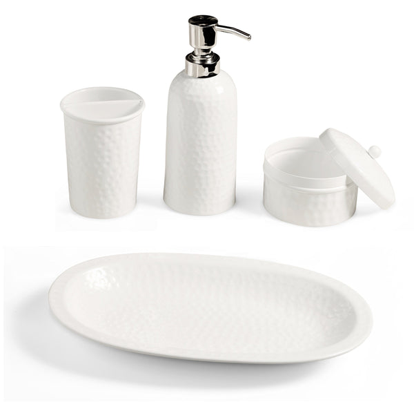 Monarch Abode Hand Hammered Classic White 4-Piece Bathroom Accessories Set