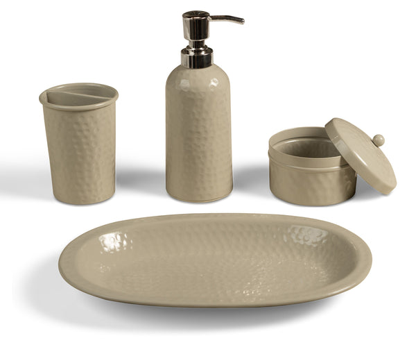 Monarch Abode Hand Hammered Desert Clay 4-Piece Bathroom Accessories Set Bathroom Collection > Bathroom Accessories Set Monarch Abode