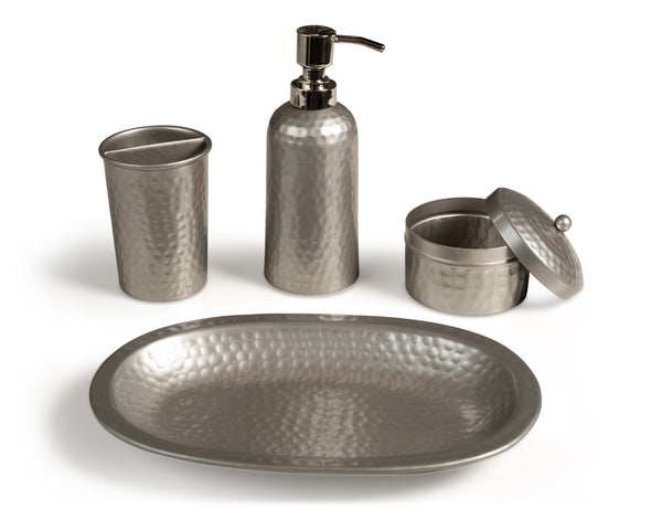 Monarch Abode Hand Hammered Pewter 4-Piece Bathroom Accessories Set Bathroom Collection > Bathroom Accessories Set Monarch Abode