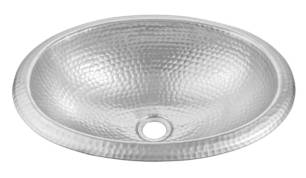 Monarch Abode Hand Hammered Silver Oval Dual Mount Sink Monarch Abode