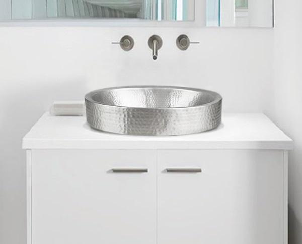 Monarch Hand Hammered Nickel Skirted Bathroom Vessel Sink