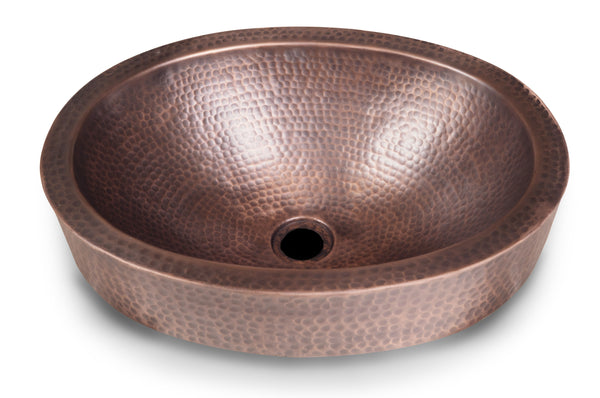 Monarch Abode™ Pure Copper Hand Hammered Oval Skirted Bathroom Sink