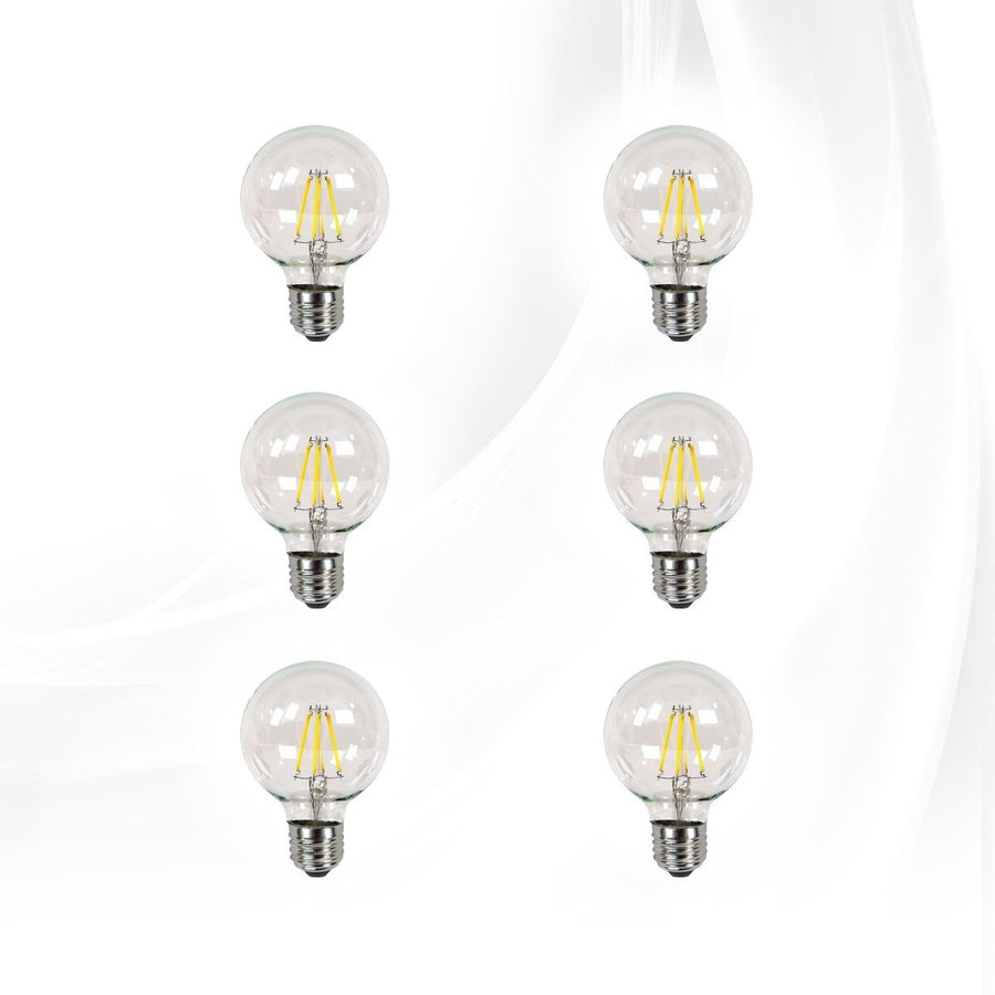 Impressions Vanity Co. Clear LED Globe Bulbs, Dimmable (Bright White)