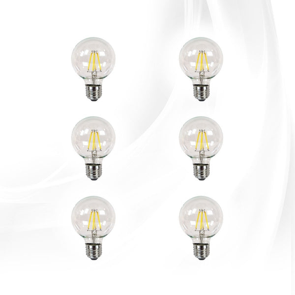 Clear LED Filament G25 Globe Bulbs 6-Pack, Dimmable, Bright White