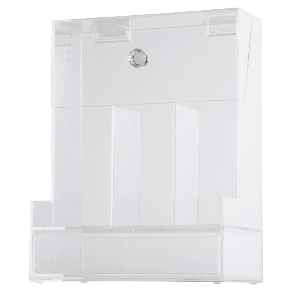 Diamond Collection Acrylic Makeup Brush Holder with Drawer
