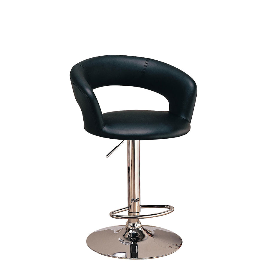 modern curved vanity chair with adjustable height in black. impressions vanity co • modern curved vanity chair with