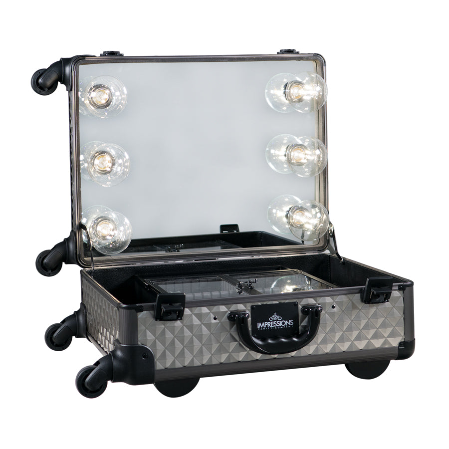 SlayCase® XL Vanity Travel Train Case in Charcoal Studded