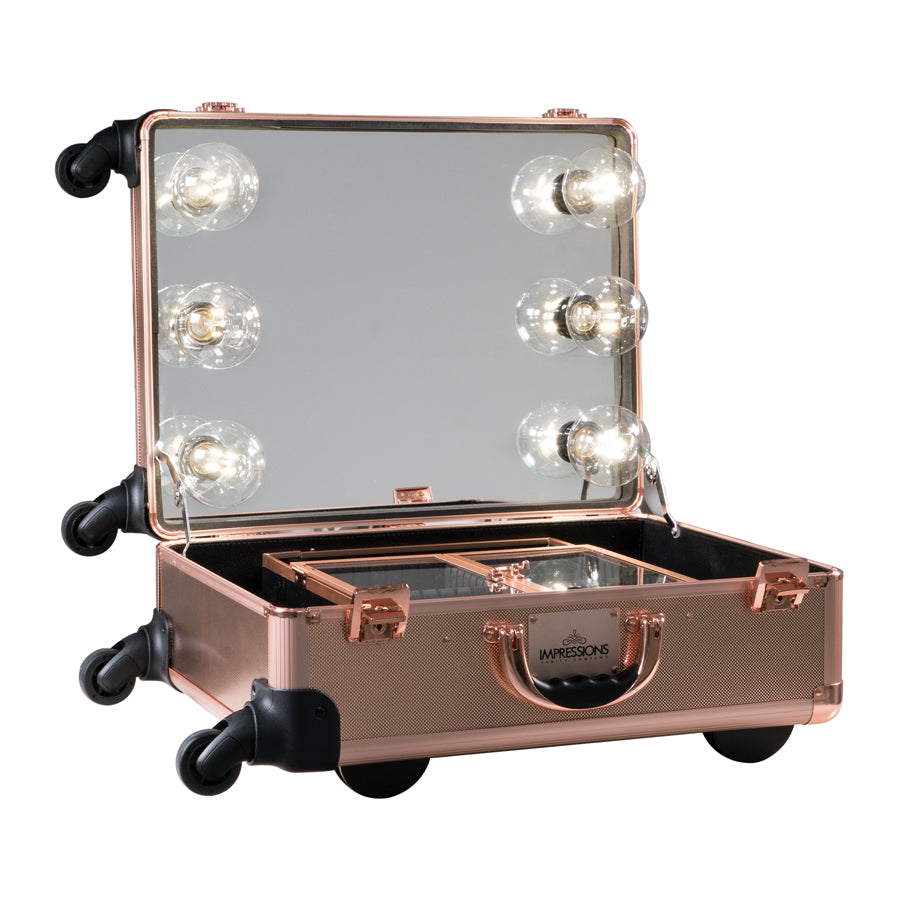 SlayCase® XL Vanity Travel Train Case in Rose Gold Bling