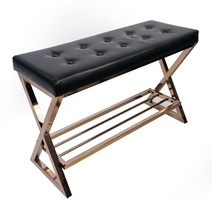 Impressions Vanity Black Tufted Bench