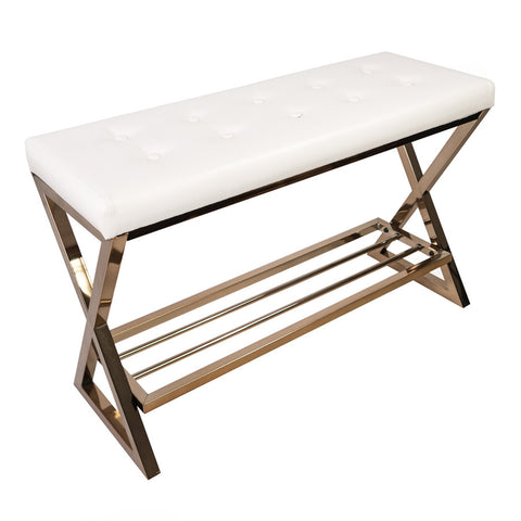 Impressions Vanity White Tufted Bench