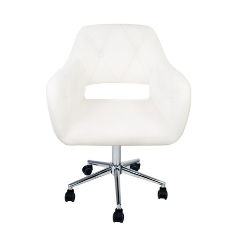 Brittney Tufted White Vanity Chair