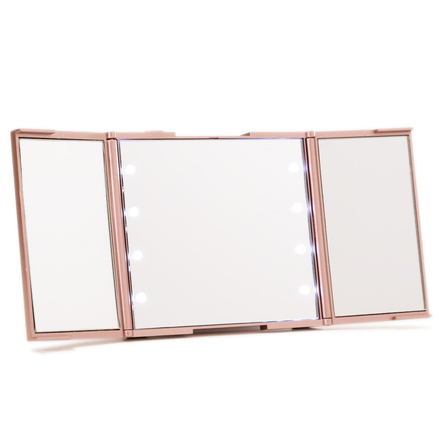 Impressions Vanity ReveaLight Trifold LED Compact Mirror in Rose Gold