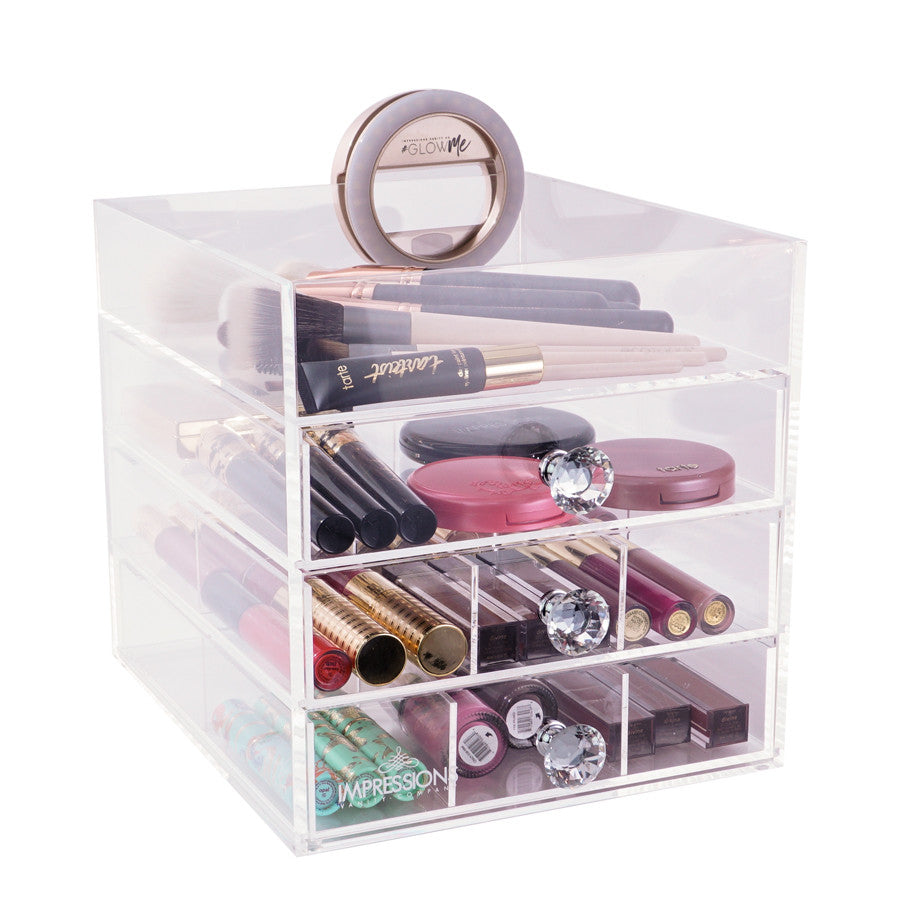 diamond collection petite 4-tier acrylic makeup organizer with open top