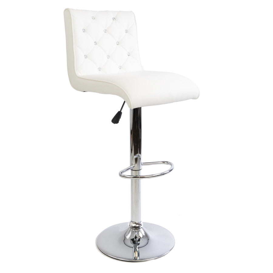 White Diamond Armless Barstool