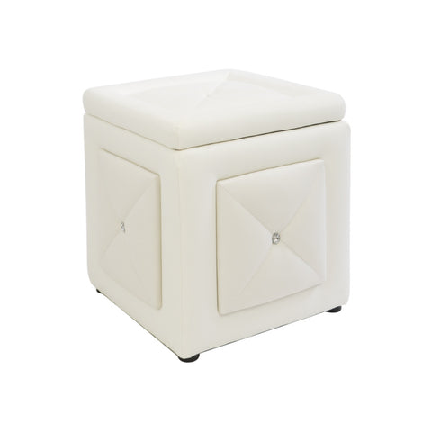 White Leather Tufted Diamond Ottoman