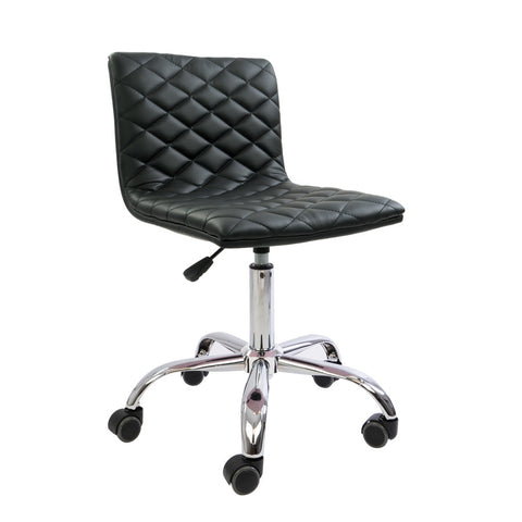 Black Diamond Quilted Armless Chair
