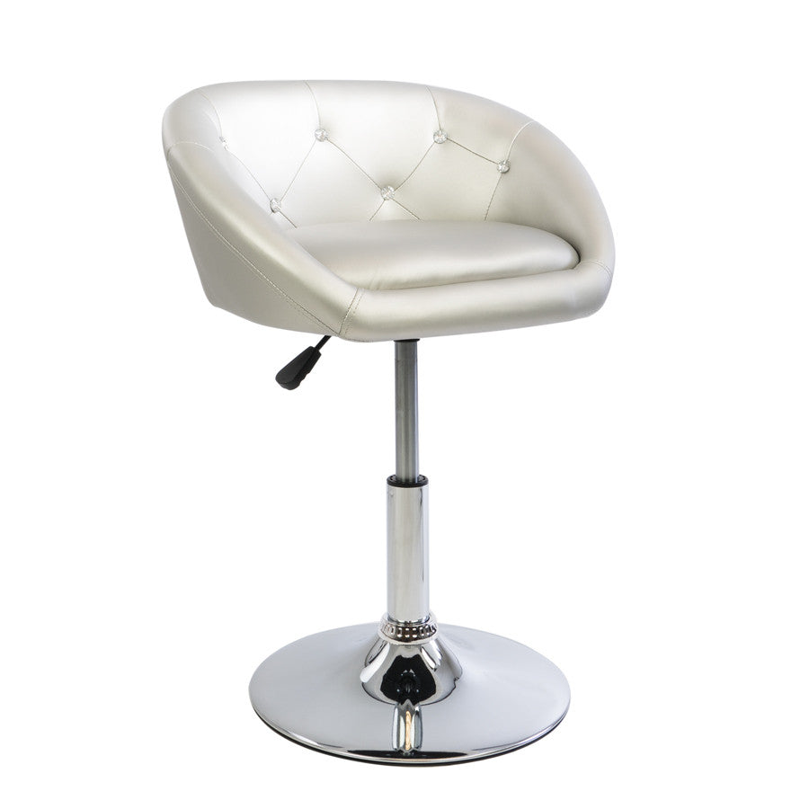 Silver Diamond Tufted Leather Chair