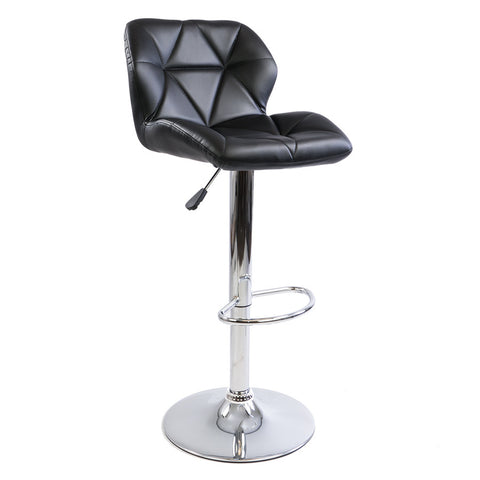 Black Geometric Leather Barstool