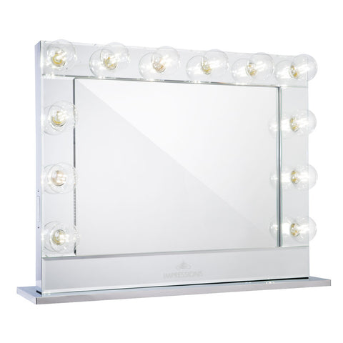 Impressions Vanity Hollywood Reflection Mirrored Vanity Mirror with Clear LED Bulbs