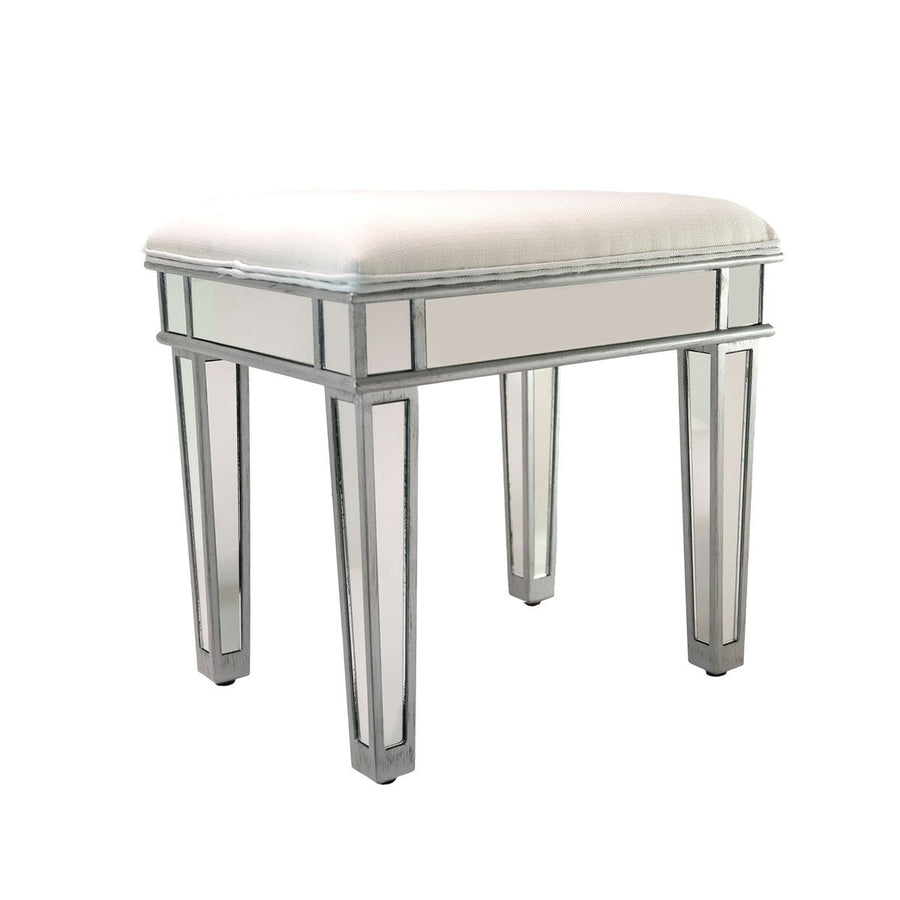 Impressions vanity co ella luxe mirrored vanity stool - Black and white vanity stool ...